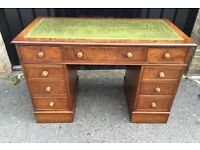 Antique walnut leathers top desk