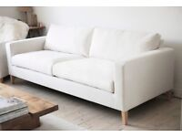 Fabulous contemporary cream linen 3 seater sofa
