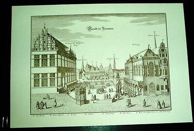 Bremen - Markt: alte Ansicht Merian Druck Stich 1653