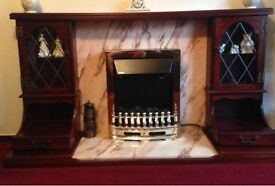 Wood & Marble Fire Surround with electric Fire