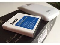 Anker Extended Battery for Samsung Galaxy S4, SIV, S IV & White back cover - boxed
