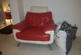 3 Piece Modern Leather Suite - Cream and Red