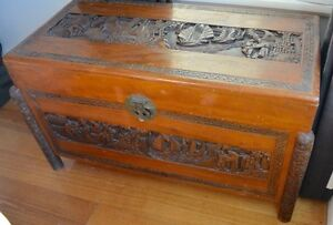 Vintage Oriental Hand Carved Timber Camphor Chinese Chest Storage Beaumaris Bayside Area Preview