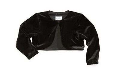 Jayne Copeland Little Girls Black Velvet Shrug Bolero Jacket SZ 2T 3T 4 5 6 6X - Girls Velvet Shrug