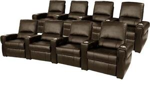 Pallas Home Theater Seating 8 Leather Seats Manual Recliner Brown Chairs