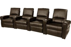 Pallas Home Theater Seating 4 Leather Seats Manual Recliner Brown Chairs