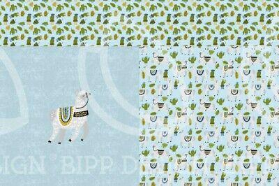 Jersey Paneel BIPP Design Alpaka Kaktus Blätter hellblau grau grün 1,50m Breite