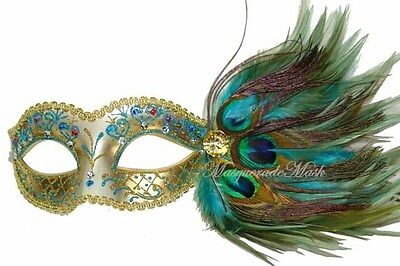 Pretty Peacock New Year Party Venetian Turquoise Masquerade Mask Christmas Gift - Peacock Masks
