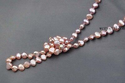 Strand Natural pink Purple Cultured Fresh water Pearl opera Long Necklace (Nugget Pearl Long Necklace)
