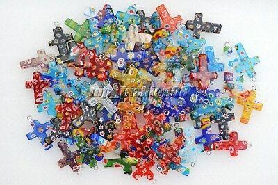 Wholesale Lot 50pcs Flower Millefiori Glass Cross Silver Plated Bead -