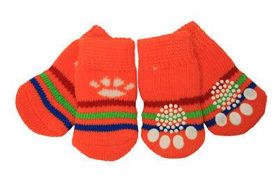 Cute Orange Pawprint Strip Anti-Slip Dog Socks Clean Comfy Paws Pets Puppy 4 pcs