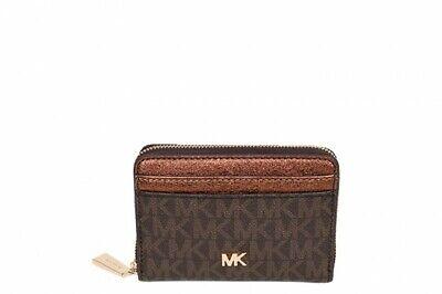 Michael Kors Signature Small Zip Around Leather Purse Wallet Brown Bronze