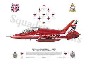 Squadron Print RAF Aerobatic Team The Red Arrows Scampton 2016 signed RAFAT