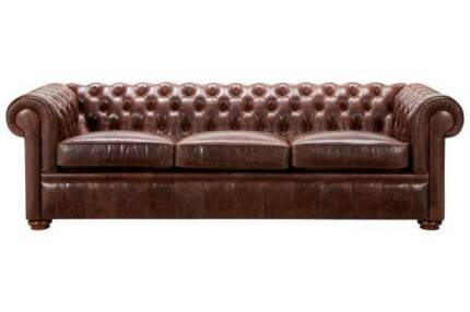 Chesterfield 3-Seater Leather Sofa - Freedom Furniture Cronulla Sutherland Area Preview