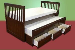 Solid wood twin bed with trundle & storage