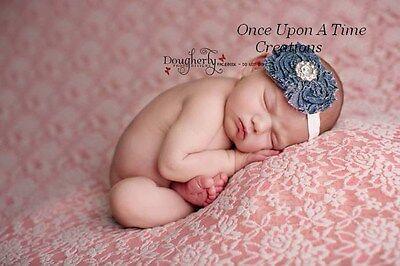 Blue Denim Shabby Rosette Flower Headband Hairbow Baby Girl Hair Country Bow