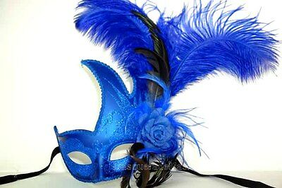 Fancy Feather Masquerade mask Sweet 16s birthday graduation costume Prom Party