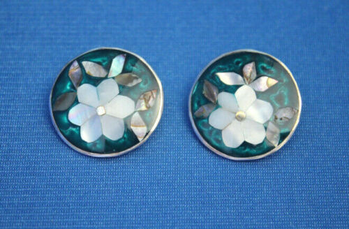 Vintage signed ALPACA MEXICO Silver Abalone MOP INLAY FLOWER CLiP EARRINGS