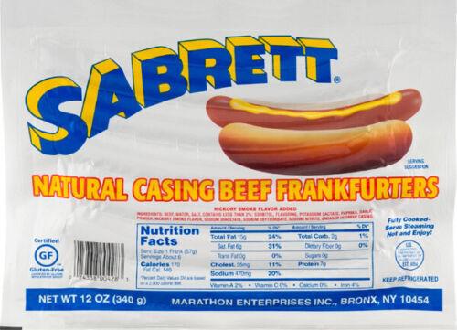 Sabrett Picnic Pack: 3 Pack of 6 Hot Dogs, 1 bottle Mustard, 1 Onions N Sauce