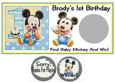 10 Baby Mickey Mouse Birthday Party Baby Shower Scratch Off Game Lottery Tickets - Mickey Mouse Birthday Games