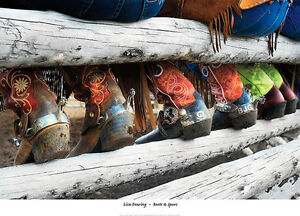 lisa dearing boots and spurs cowboy western butts on fence