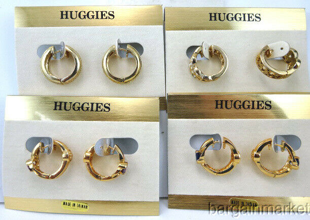 Vintage 4 Pairs Lot Reversible Gold EP Crystal Half Hoop Huggie Earrings New