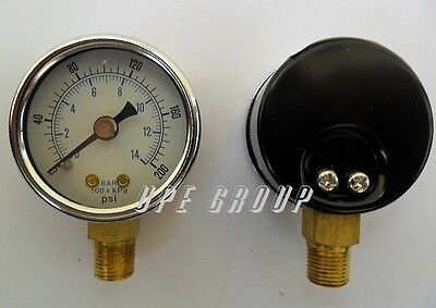 New Pressure Gauge Water Oil Gas Air Compressor 1.5face 0-200 Lower Mnt 18npt