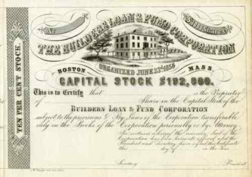 18__ Builders Loan & Fund Corp Stock Certificate