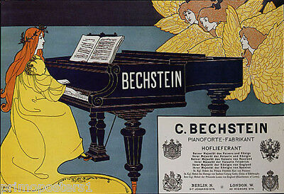 PIANO BECHSTEIN WOMAN PLAYING MUSIC ANGELS LISTENING VINTAGE POSTER REPRO