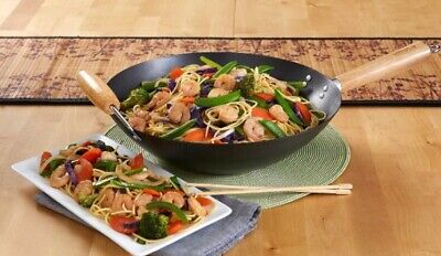 """NEW FREE SHIPPING IMUSA Wok 14"""" Nonstick Carbon Steele Construction"""