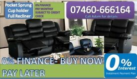 3 and 2 seater leather recliner sofa 86