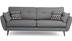 French connection zinc 4 seater sofa with cushions - grey