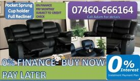 3 and 2 seater leather recliner sofa 970