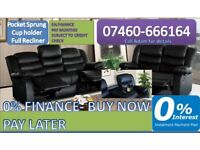 NEW 2 AND 3 SEATER LEATHER RECLINER SOFA 505