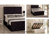 ★★ BRAND NEW ★★ OTTOMAN STORAGE SYSTEM CHESTERFIELD CRUSHED VELVET BED FRAME