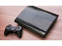 PLAYSTATION 3, SUPER SLIM, 12GB , WITH 14 GAMES , 7 BOXED AND 7 UNBOXED