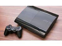 PS3 Super Slim 500GB, 26 DLC games, 2 controllers, etc