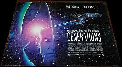STAR TREK GENERATIONS  POSTER ORIGINAL CINEMA  ISSUED 1994 UK  MINI QUAD MINT