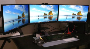 3 - 23 inch LG LED IPS monitors with triple monitor mount