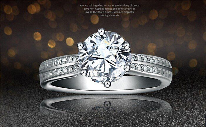 Classic 925 Sterling Silver 2 Carat Cubic Zirconia Engagement/Wedding Ring