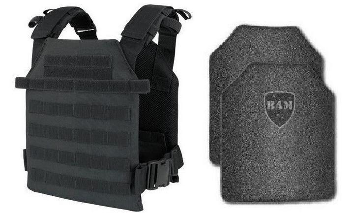 Body Armor | Bullet Proof Vest | AR500 Steel Plates | Base Coating- BLK M-XXL