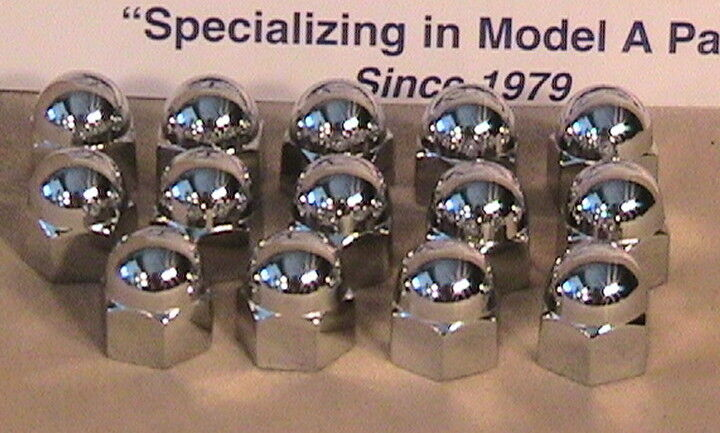1928 1929 1930 1931 Model A Ford Chrome Acorn Head Nut Covers Set of 14