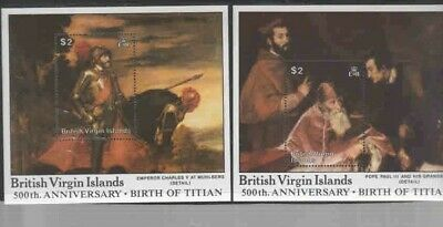 VIRGIN ISLANDS #603-604 1988 PAINTING BY TITIAN MINT VF NH O.G S/S