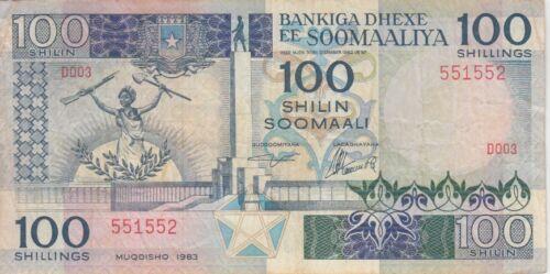 Somalia Banknote P35a-1552  100 Shilin 1983,  VF