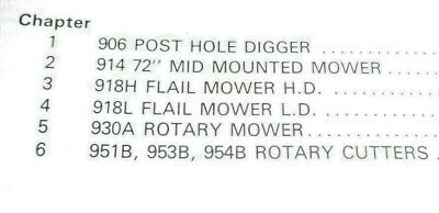 Ford Tractor 900 Series Implements Service Manual Mower Cutter Post Hole Digger