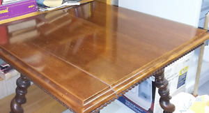 Antique Square Table with Barley Twist Legs and Metal Feet