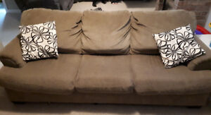 Chenille couch and chaise