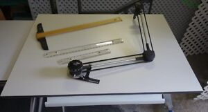 DRAFTING TABLE & ADJUSTABLE RULERS & T - SQUARE