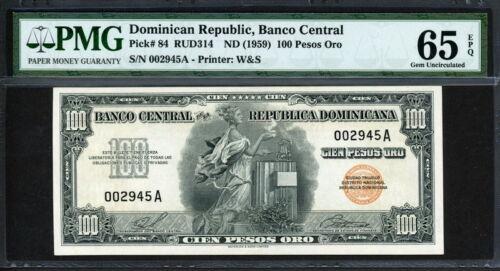 Dominican Republic 1959, 100 Pesos Oro, P84,PMG 65 EPQ GEM UNC Rare