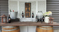 Wine Barrel Tables for rent